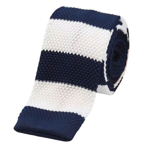 Classy Men Navy Blue White Square Knit Tie