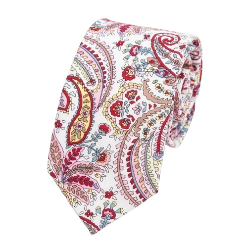 Classy Men Red Paisley Floral Skinny Cotton Tie