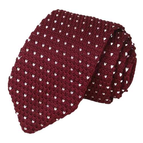 Classy Men Wine Red Dot Knitted Tie