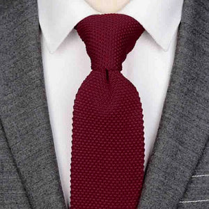 Classy Men Wine Red Knitted Tie