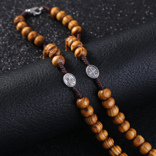 Classy Men Wooden Rosary Bead Necklace