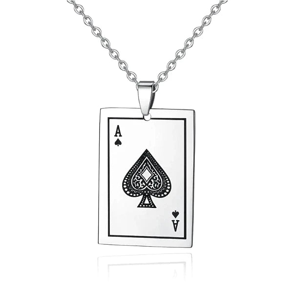 Ace Of Spades Pendant Necklace On A White Background