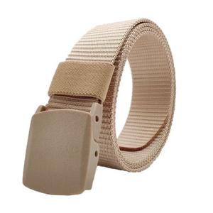 Classy Men Beige Web Belt With Plastic Buckle