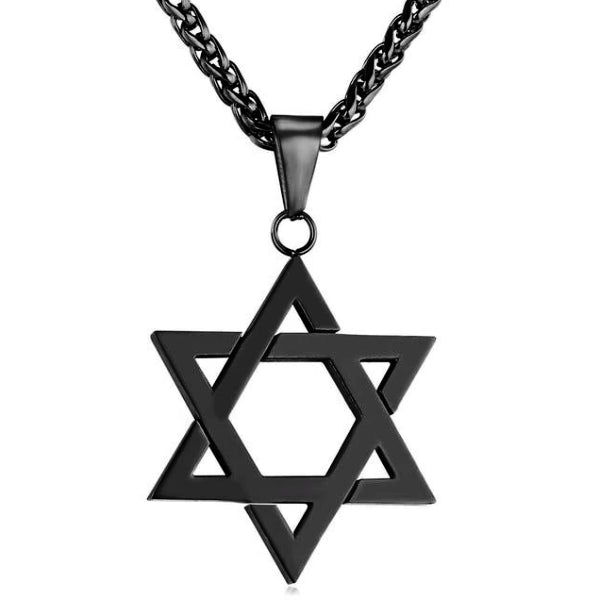Black Jewish Star of David pendant hanging from a wheat chain