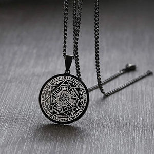 Classy Men Black Coin Pendant Necklace