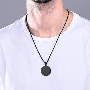 Classy Men Black Bitcoin Pendant Necklace