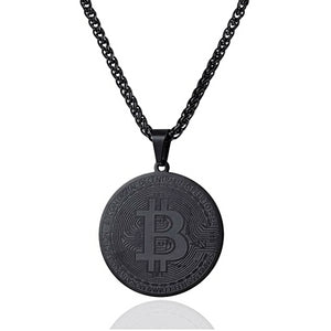 Black Bitcoin digital currency pendant hanging on a chain necklace