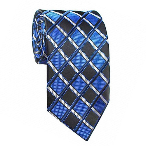 Classy Men Blue Black Striped Silk Tie