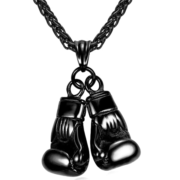 Black Boxing Gloves Pendant Necklace On A White Background