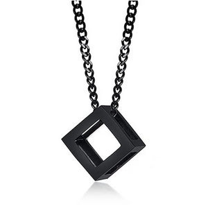 Black cube pendant necklace for men