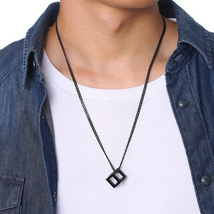 Classy Men Black Square Cube Pendant Necklace