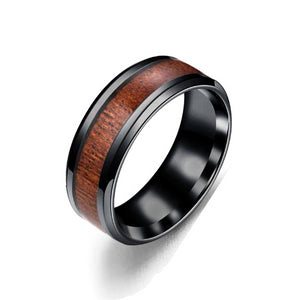 Classy Men Black Wood Inlay Ring - Classy Men Collection