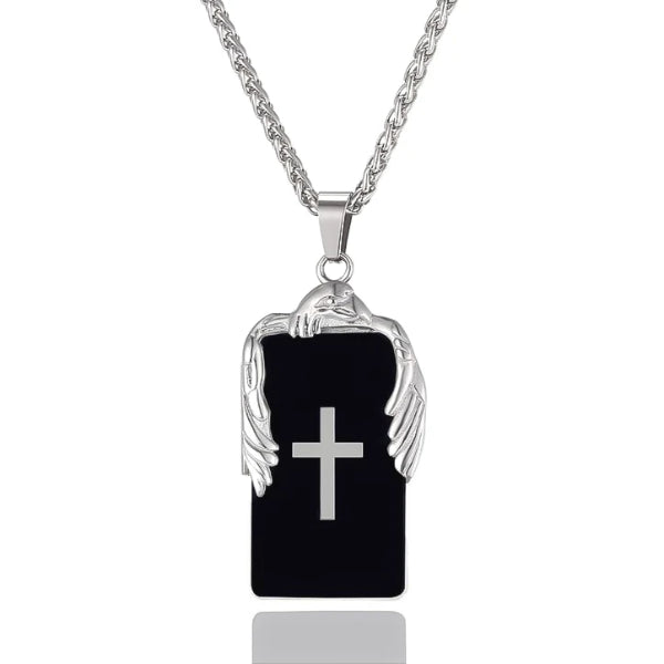 black plate pendant with a cross and silver eagle on top