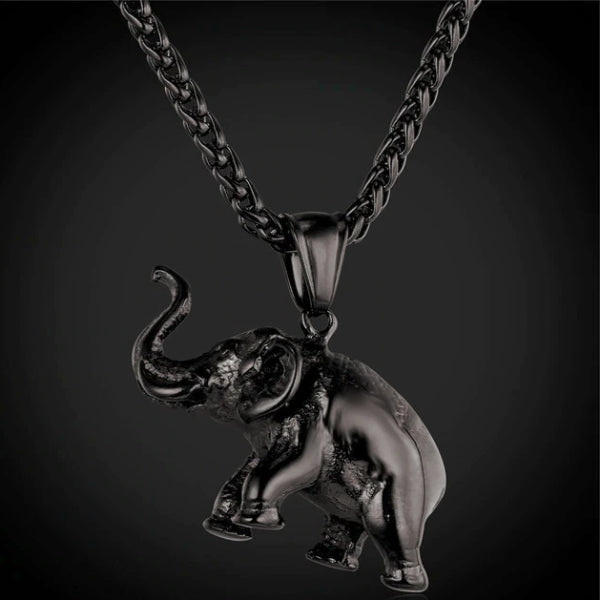 Classy Men Black Elephant Pendant Necklace