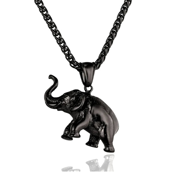 black elephant pendant hanging on a black stainless steel chain