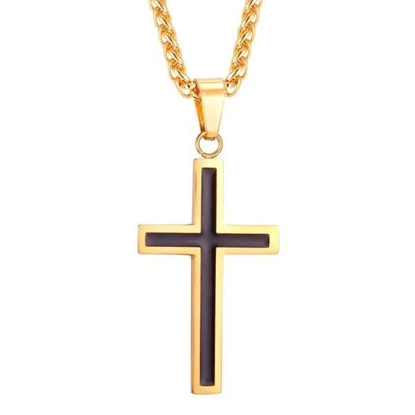 Gold cross pendant with a black interior on a gold stainless steel chain