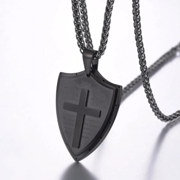 Classy Men Black Shield Of Faith Pendant Necklace