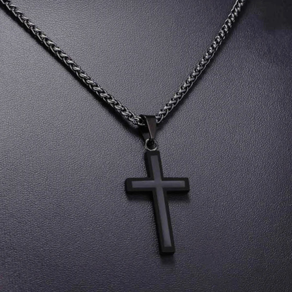 Classy Men Black On Black Cross Pendant Necklace