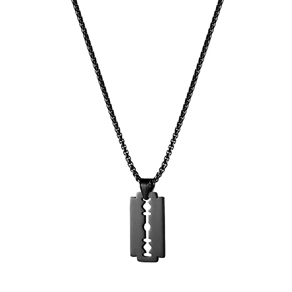Black Razor Blade Pendant On A Black Chain Necklace