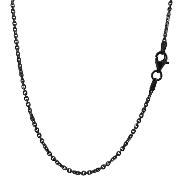 Classy Men 2.4mm Black Rolo Chain Necklace