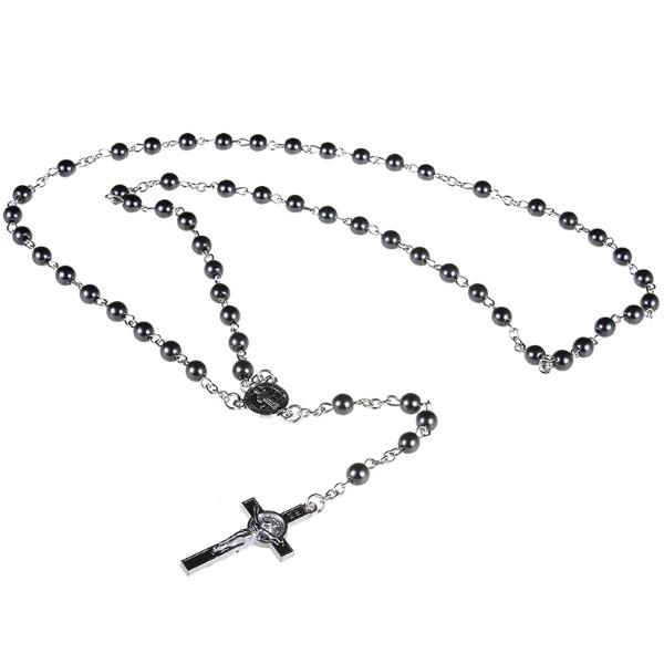 Classy Men Rosary Pendant Necklace