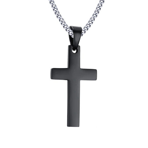 Classy Men Black Small Christian Cross Pendant Necklace