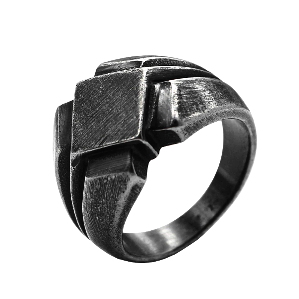 Black Viking ring with minimal design on a white background