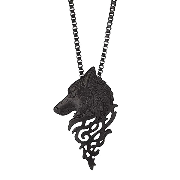 Black Wolf Pendant Necklace For Men In A Closeup Photo