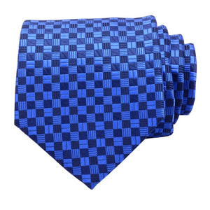 Classy Men Blue Checkered Silk Necktie - Classy Men Collection