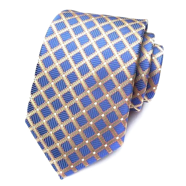 Classy Men Formal Blue & Gold Striped Silk Necktie