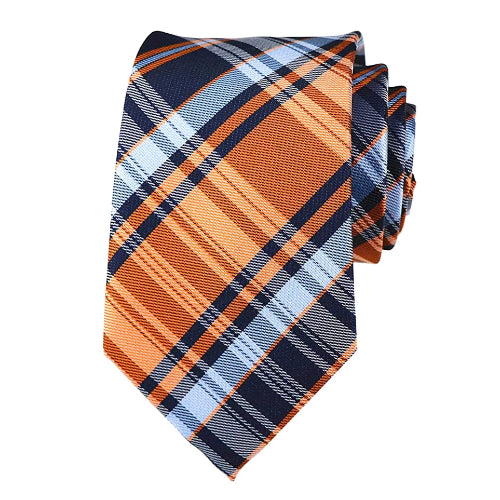 Classy Men Blue Orange Plaid Silk Tie