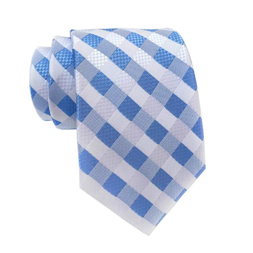 Classy Men Blue White Cross-Striped Silk Tie