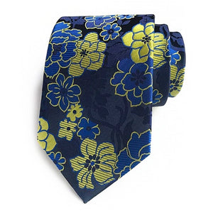 Classy Men Blue Yellow Floral Silk Tie