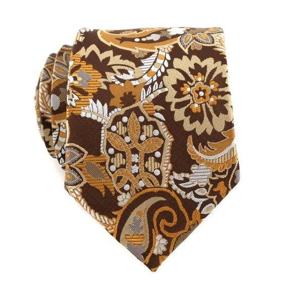 Classy Men Brown Orange Floral Silk Tie