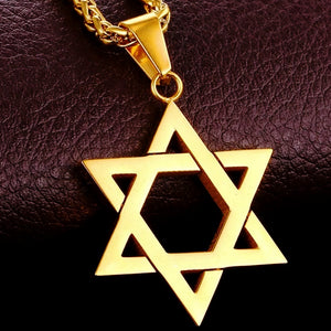 Classy Men Gold Star Of David Pendant Necklace