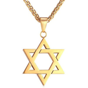 Gold Jewish Star of David hanging from a wheat chain