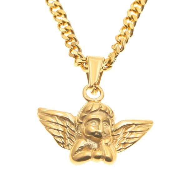 Classy Men Gold Baby Angel Pendant Necklace