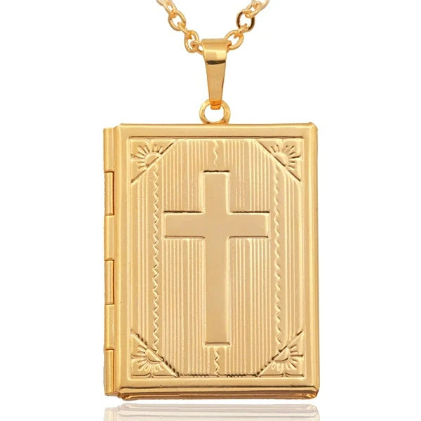 golden bible pendant locket on a gold necklace for men