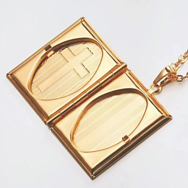 Classy Men Gold Bible Locket Pendant Necklace