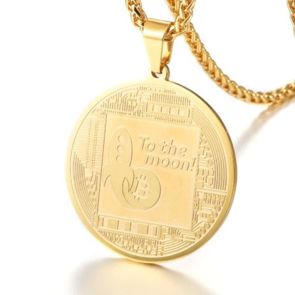 Classy Men Gold Bitcoin Pendant Necklace
