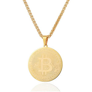 Gold Bitcoin digital currency pendant hanging on a chain necklace