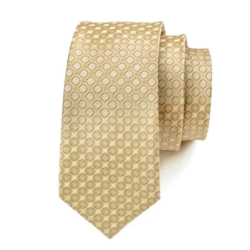 Classy Men Gold Circle Dot Silk Tie