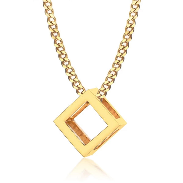 Classy Men Gold Square Cube Pendant Necklace