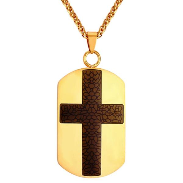Gold dog tag cross necklace for men - black cross on a gold pendant