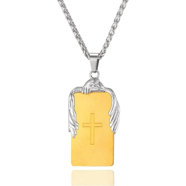 gold cross plate pendant with an eagle on top hanging from a chain