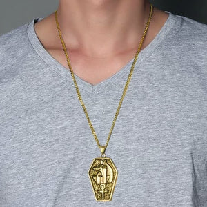 Classy Men Gold Egyptian Anubis Ankh Pendant Necklace