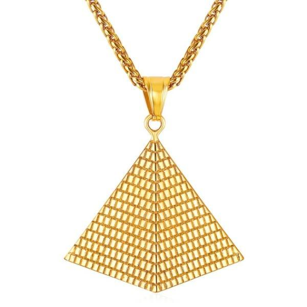 Gold Egyptian pyramid pendant hanging on a necklace