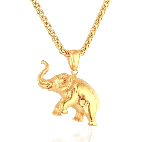 gold elephant hanging on a gold chain