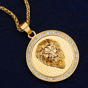 Close-up image of the lion coin necklace