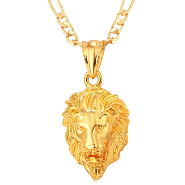 Classy Men Gold King Lion Pendant Necklace